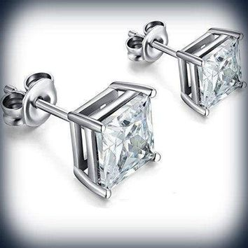 1 PAIR CZ CLEAR SQUARE Clip-On EARRINGS STUDS Men Women - Earring Studs