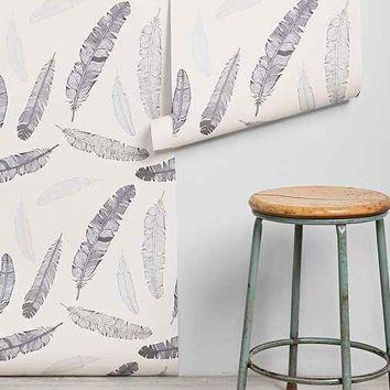 Walls Need Love Grey Goose Feather Removable Wallpaper