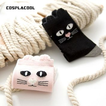 [COSPLACOOL]Japan Harajuku Socks Women Cats Cute Funny Socks Warm breathable The high-quality goods socks Pink and Black Meias