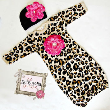 Boutique Baby leopard print Layette hot pink Flower Infant Gown and Hat set