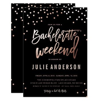BACHELORETTE WEEKEND ITINERARY // BLACK invitation