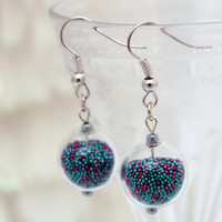 Purple and turquoise metallic microbead glass globe earrings- tiny gumball bottle with moveable coloured beads- Great Christmas gift
