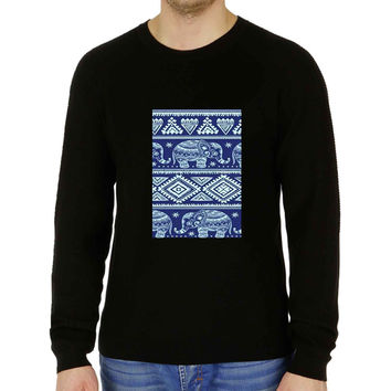 Blue Tribal Elephant Aztec - Sweater for Man and Woman, S / M / L / XL / 2XL **