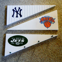 Sports Logo Peg Rack, Pennant Cap Rack, Team Logo Rack, Game Room Rack
