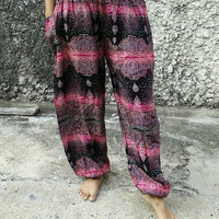 Bohemian Paisley Printed Yoga Pants Boho Style Hippies Hobo Clothing Clothes Gypsy Tribal Festival Outfit Beach For Women Chic Pattern Pink