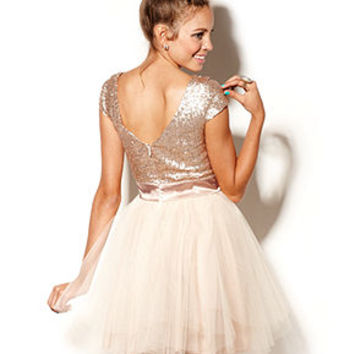 Trixxi Juniors Dress, Cap Sleeve Sequin Tulle - Juniors JUNIORS' SALE & CLEARANCE - Macy's