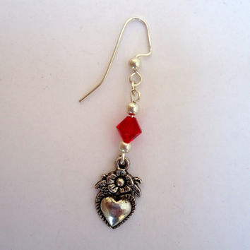 Valentine Special! Dangling antique silver tone heart earrings with red crystals and Miyuki seed beads and silver tone ear wires.