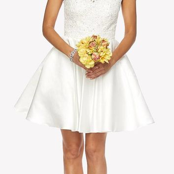 Off White Cold Shoulder Homecoming Dress Embellished Waist Lace Top