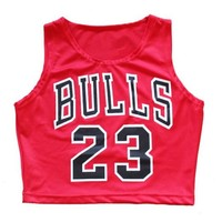 Sexy women summer bulls 23 barbie crop top basketball women sleeveless casual fitness tops letter t-shirt Fast shipping