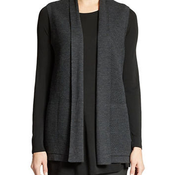Eileen Fisher Open Front Merino Wool Vest