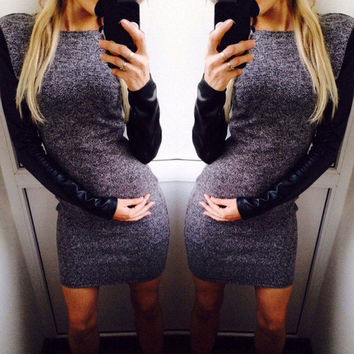 2015 Fashion Sexy Autumn Winter Women Long Sleeve Bodycon Casual Dress