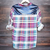 Button Up Plaid Shirt with Dazzling Blue Sequins
