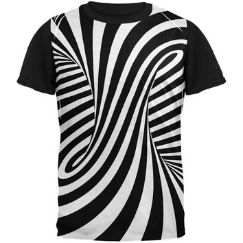 Trippy Black And White Swirl Adult Black Back T-Shirt