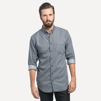 Slim Denim Shirt in Washed Gray