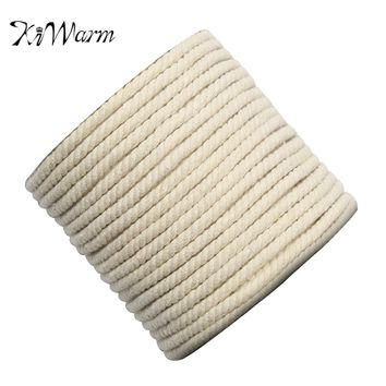 KiWARM 7mm x 87m Natural Beige White 100% Cotton Wide Cord Rope DIY Craft Macrame String Handmade Decorative Accessories