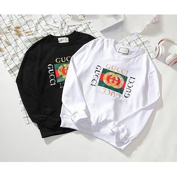 GUCCI men and women classic retro print logo pattern round neck sweater F-A-KSFZ