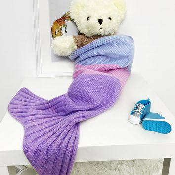 Color Block Striped Knitted Mermaid Blanket Throw For Baby