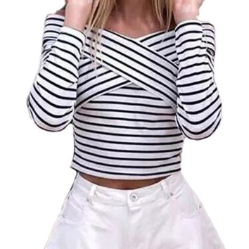 Off Shoulder Stripe Printing Shirt Long Sleeve Slim Blouse