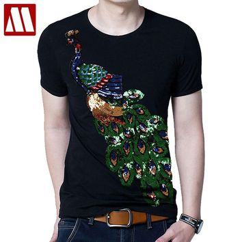 2018 Summer Elegant T-shirt Men's Peacock Sequined Sequins T shirts Men Fashion New Cotton Tops Tee Shirt Male Sakura Clothes
