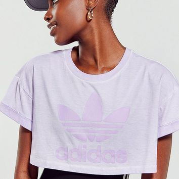 adidas Tie-Dye Trefoil Cropped Tee | Urban Outfitters