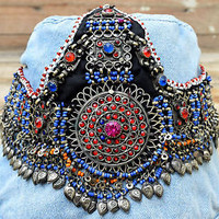 Afghan Kuchi Headpiece Tribal Belly Dance Bohemian Ethnic Headband Festival Boho