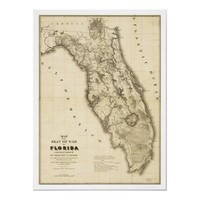 Seminole War Florida Map 1839 Poster from Zazzle.com