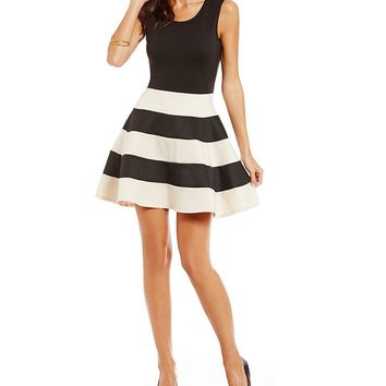 Jodi Kristopher Sleeveless Striped Skirt Dress | Dillards