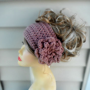 Crochet Headband, Earwarmer, Headban with Flower, Boho Headband, Knit Earwarmer, Womens Accessories