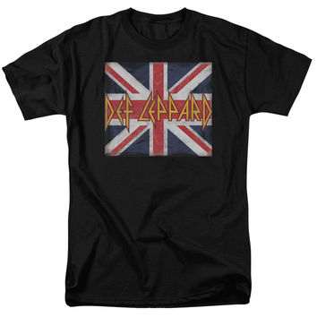 STICKER & SHIRT - DEF LEPPARD/UNION JACK-S/S ADULT