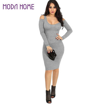 Dress Grey Off Shoulder Long Sleeve Slim Fitting Knitted Sweater Dress Sexy O neck Party Dress Vestidos SM6