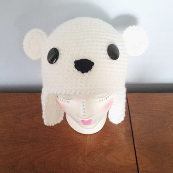 ALL SIZES Crochet Poppy the Polar Bear Hat - Adult Animal Hats - Character Beanie - Crochet Kids Animal Hat - Earflap Hats - Unique Hat