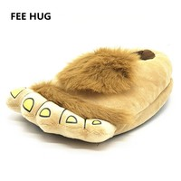 Indoor Slipper Wear Big Hairy Unisex Savage Monster Hobbit Feet Slippers Home Slippers Adult Pattes Pantoufles 2015 40-44 Size