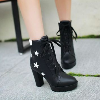 Stars Lace Up Pointed Toe High Chunky Heels Short Boots