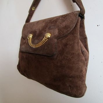 Vintage 60s MASTERCRAFT Purse Dark Brown Suede Leather 1960s Top Handle Handbag Made in Canada