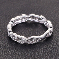 Diamond Wedding Band Eternity Anniversary Ring 14K White Gold Antique Style
