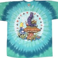 Jefferson Airplane Alice In Wonderland Tie Dye T-Shirt (Light Blue) #22 (Mens Large)