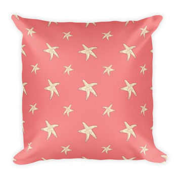 Starfish Pattern on Coral Pillow