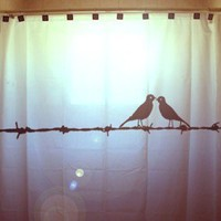 Lovebirds Custom SHOWER CURTAIN Birds on a by CustomShowerCurtains