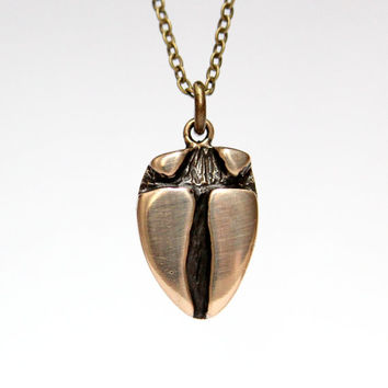 Deer Hoof Track Necklace in Solid Bronze