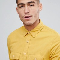 Abercrombie & Fitch Chamois Cotton Shirt Regular Fit in Yellow at asos.com