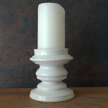 Royal Haeger White Ceramic Candle Holder, Mid Century Mod Ceramic Candle Pillar, Gloss White Ceramic Candle Pillar