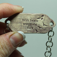 Mantra bracelet With brave wings she flies Quote jewelry 8 inches Hematite bead Purple Adjustable MB29