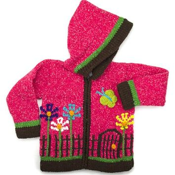 Girls Garden Hand-Knitted Sweater Infant, Toddler and 4-6