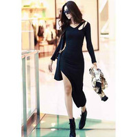 Black Bohemia Irregular Hem Dress