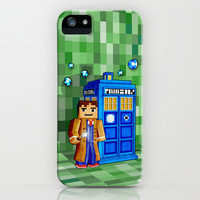 8bit Tardis Doctor Who apple iPhone 4 4s, 5 5s 5c, 6, iPod & samsung galaxy s4 case