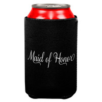 Maid of Honor Cursive Can Cooler