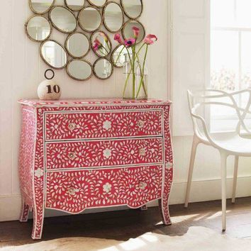 Floral Pink & Mother of Pearl Inlay Chest of Drawers - New Summer Finds - Furniture