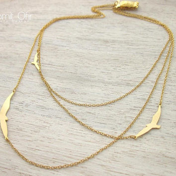 Three Layered Flying Birds Necklace in Gold, signature necklace, woodland jewelry
