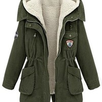 Sheinside Army Green Hooded Long Sleeve Pockets Two Pieces Coat (L, Army Green)
