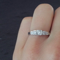 Vintage White Gold Diamond Ring, Gold Diamond Ring, Wedding Band Classic Elegant Engagement Ring, Anniversary Gift